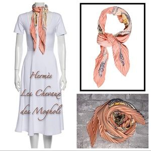 Hermès Les Chevaux Des Moghols Pleated Silk Scarf